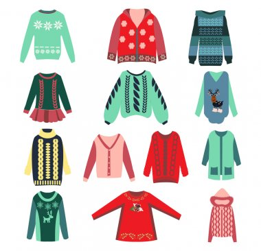 Set of womens knitted sweaters