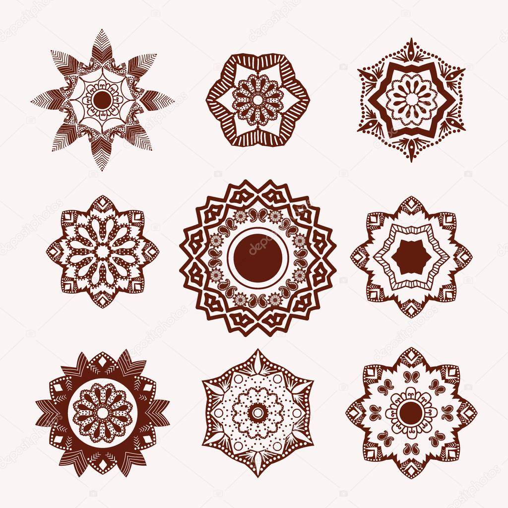Henna Tattoo Design Element Mehndi Flowers Stock Vector