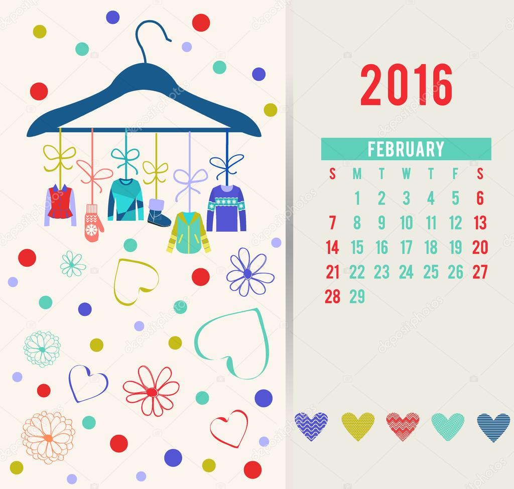 February Calendar Illustration : 아름 다운 의류와 함께 월을 위한 패션 달력 — 스톡 벡터 margolana