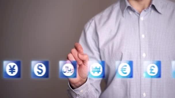Businessman touch Riyal icons
