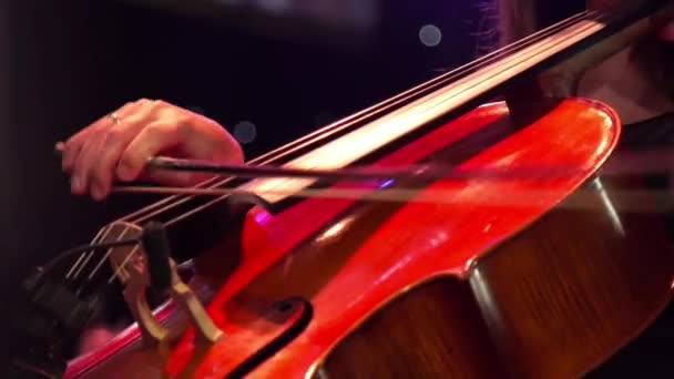 Musician hand playing the cello on concert stage with a lot of colleagues.