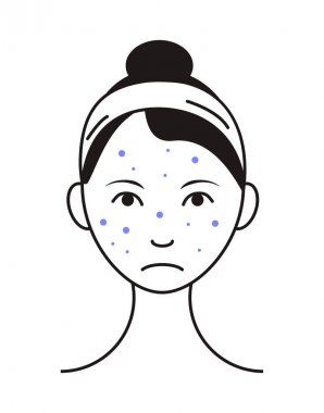 Rash face icon vector. Upset girl with pimple, spot on problem skin. Info-graphic of acne in outline style illustration isolated on white background. icon