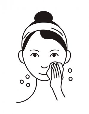 Washing face icon vector. Girl shows how to cleaning, whiting face and use cosmetic cleanser. Info-graphic in outline style illustration isolated on white background. icon