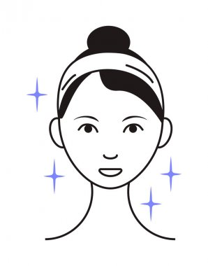 Shining face icon vector. Girl shows her face after cleaning, whiting face and using of cosmetic cleanser. Info-graphic in outline style illustration isolated on white background. icon