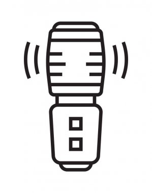 Microphone icon vector in thin line style. Voice over sign. Microphone symbol for audio podcast broadcast. Music record studio, online recording. Simple broadcasting concert logo.