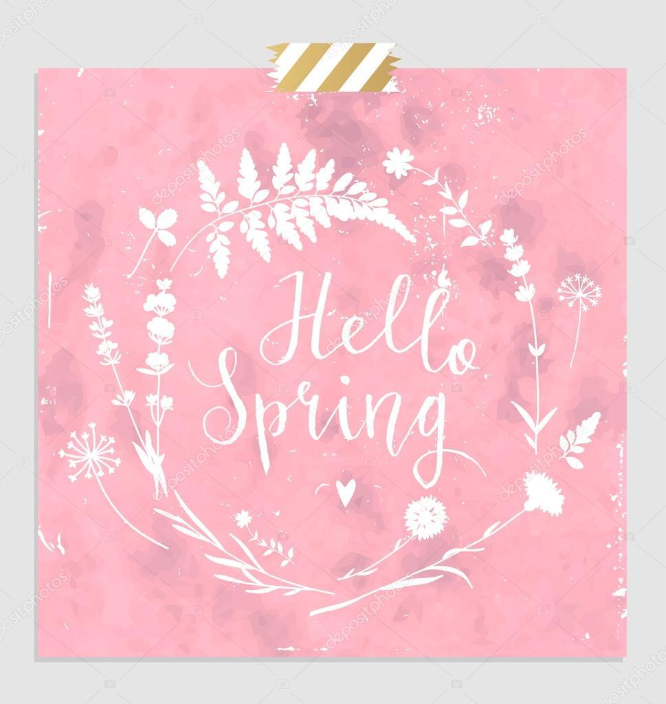 Hello Spring Card U2014 Stock Vector