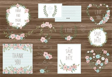 Cards with floral bouquets and wreath elements