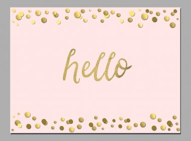 Cute card with hello word