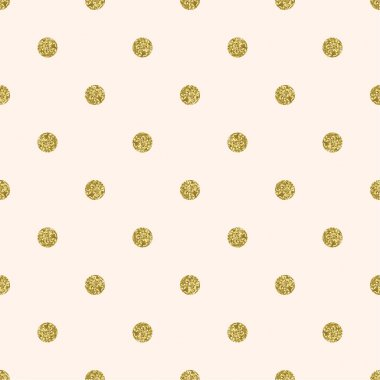 Pattern polka dot. Classic dotted seamless gold glitter pattern on peach background. clip art vector