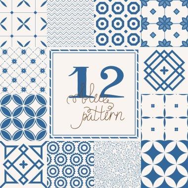 12 monochrome geometrical patterns