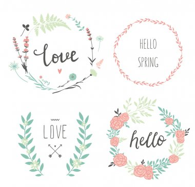 Design floral wreaths and typography
