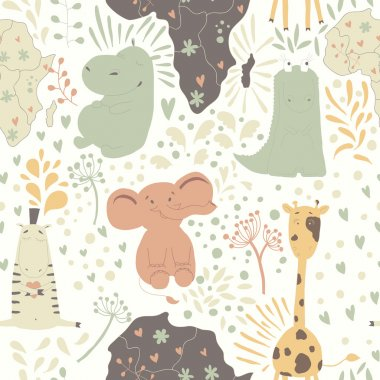 Pattern with wild african animals