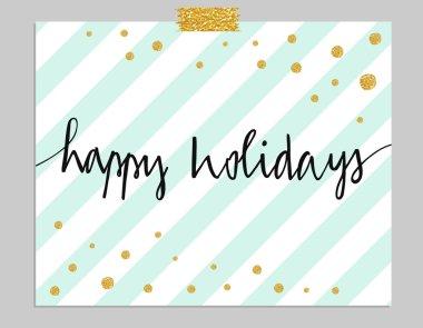 Hand drawn Happy Holidays  typography vector card. clip art vector