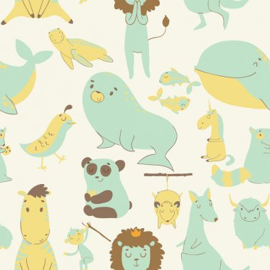 Childish seamless pattern with animals
