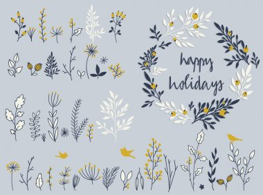 Holiday set of  flowers and herbs