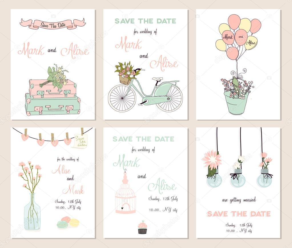 Collection of  cute card templates