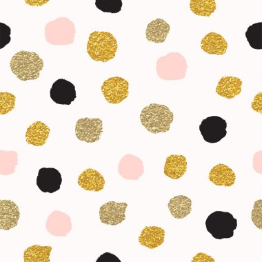 polka dots of rose gold and black