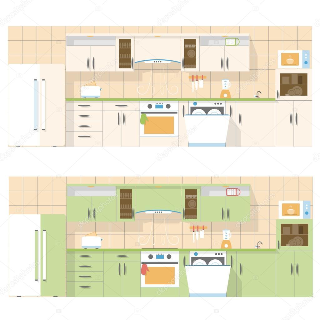 cocina con vista al frente, en un diseño plano, conjunto de dos ...