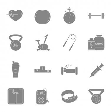 Fitness and gym silhouettes icons set