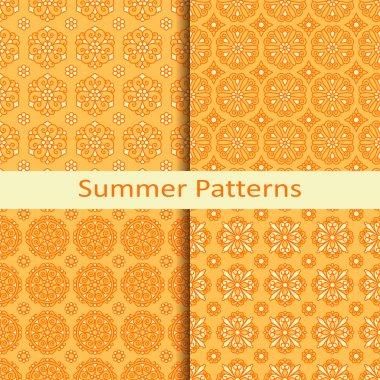 set of four summer orange patterns