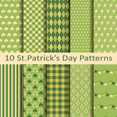 Set of ten patterns for st patrick's day