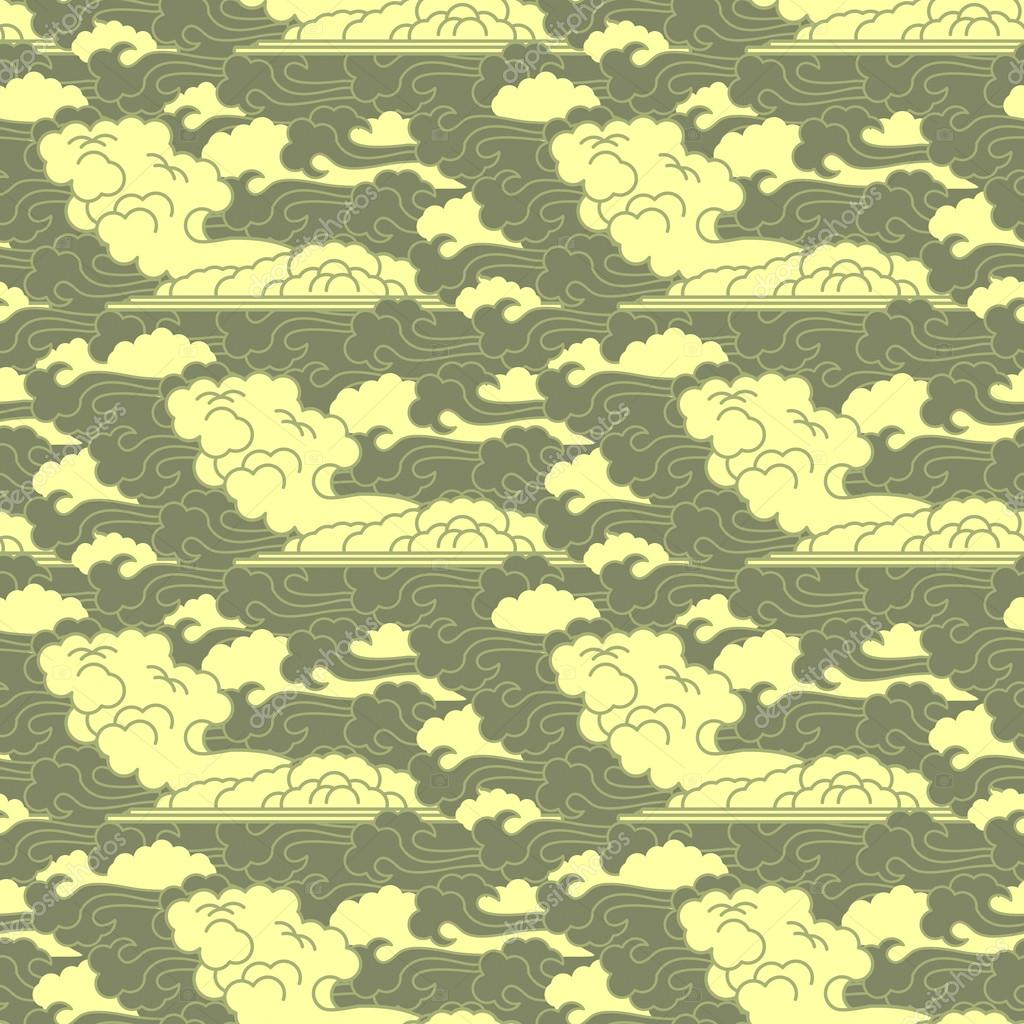 seamless cloud traditional japanese patterns � stock