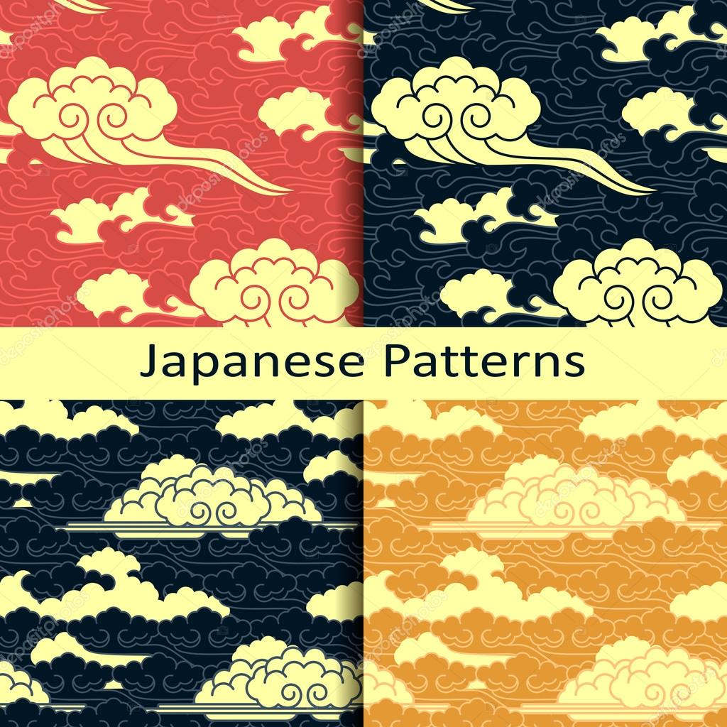 set of four cloud japanese patterns � stock vector