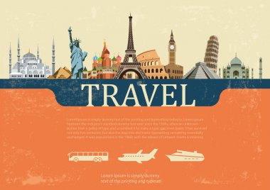 Colorful background of the most famous places on the planet stock vector