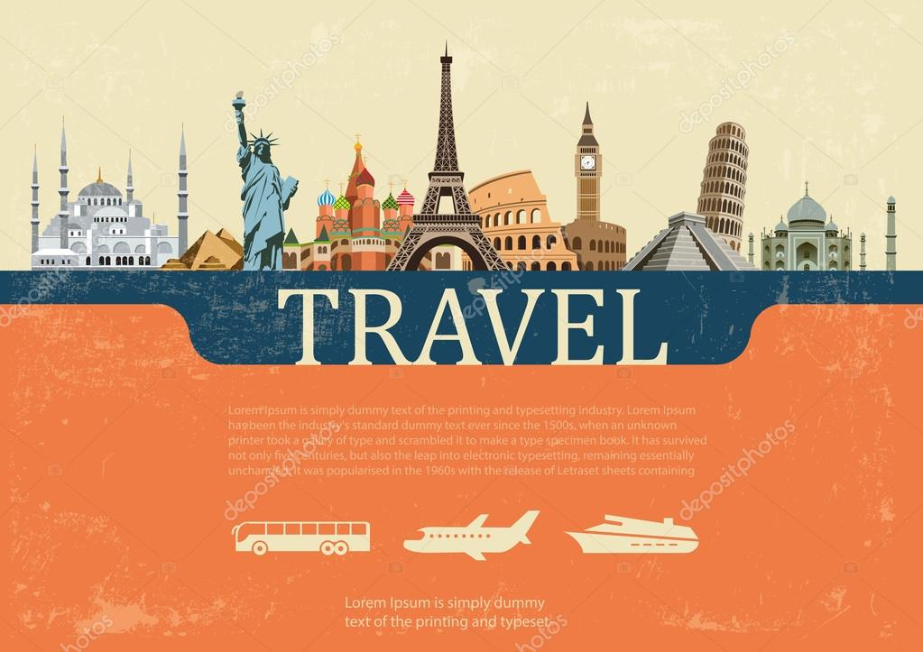 Design concept of travel world landmarks, vector illustration