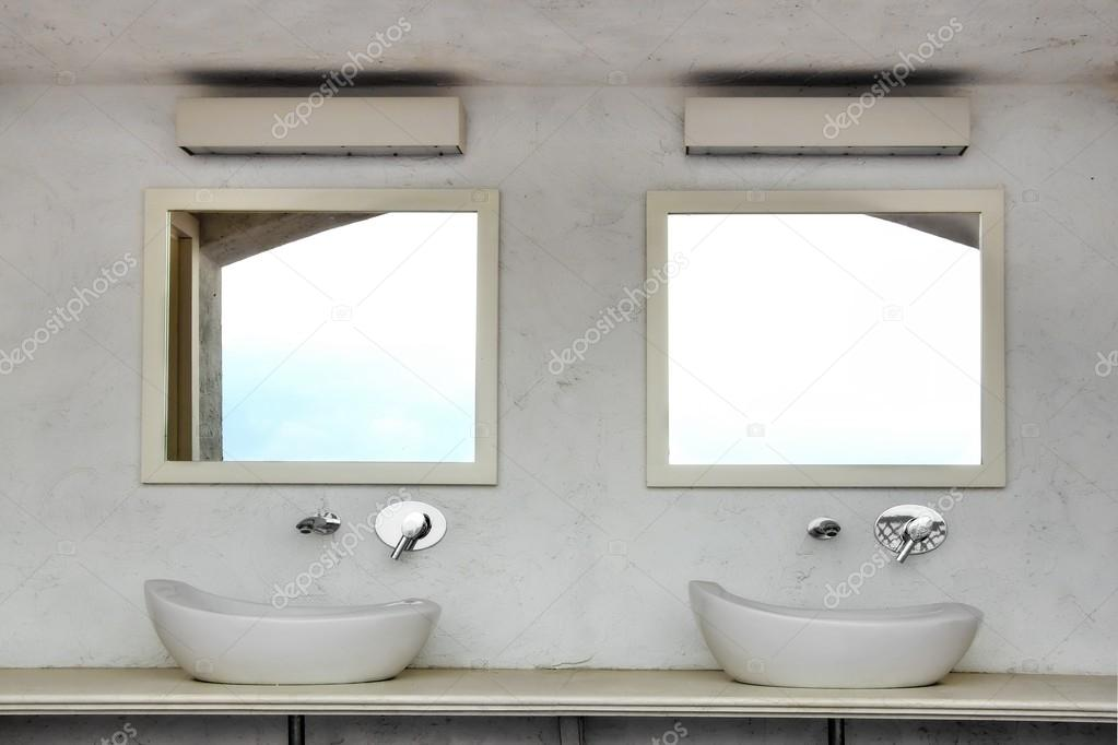 Front View Of Two Sinks With Modern Faucets And Mirrors — Stock ...