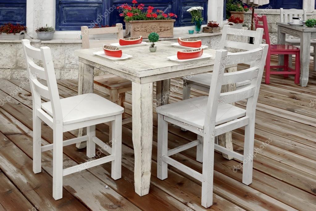 Silla madera vintage blanca | Vintage mesa madera y sillas en madera ...