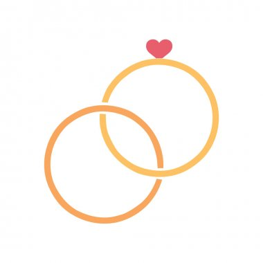 Isolated romantic rings golden love icon- Vector icon