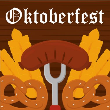 German sausage and pretzels oktoberfest full color poster icon- Vector icon