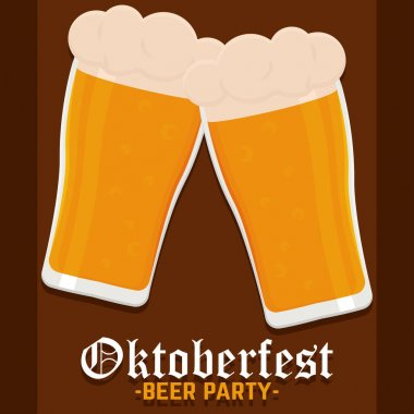 Beer party oktoberfest full color poster icon- Vector icon