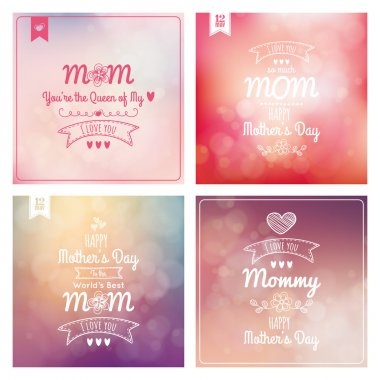 Set of colored backgrounds with text for mothers day clip art vector