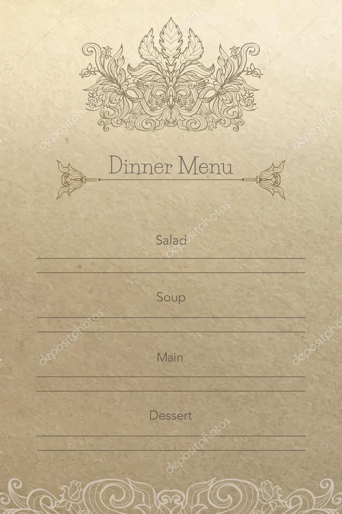 Vintage Dinner Menu Background Stock Vector