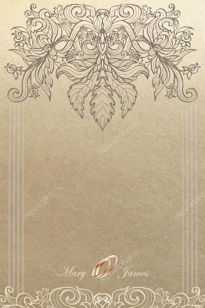 vintage wedding card stock vector c elenabesedina 64290209 https depositphotos com 64290209 stock illustration vintage wedding card html