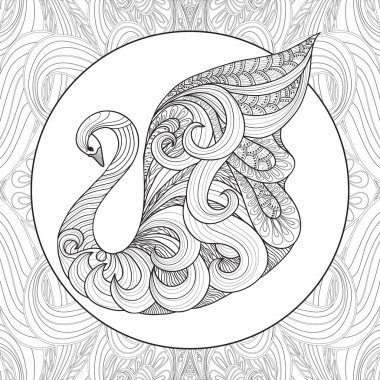 Coloring swan bird pattern