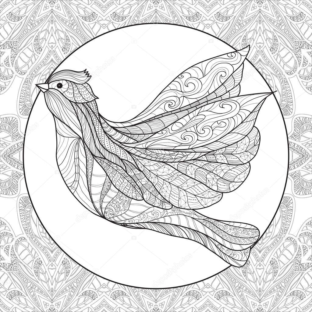 Boyama Kuş Desen Stok Vektör Elenabesedina 85627026