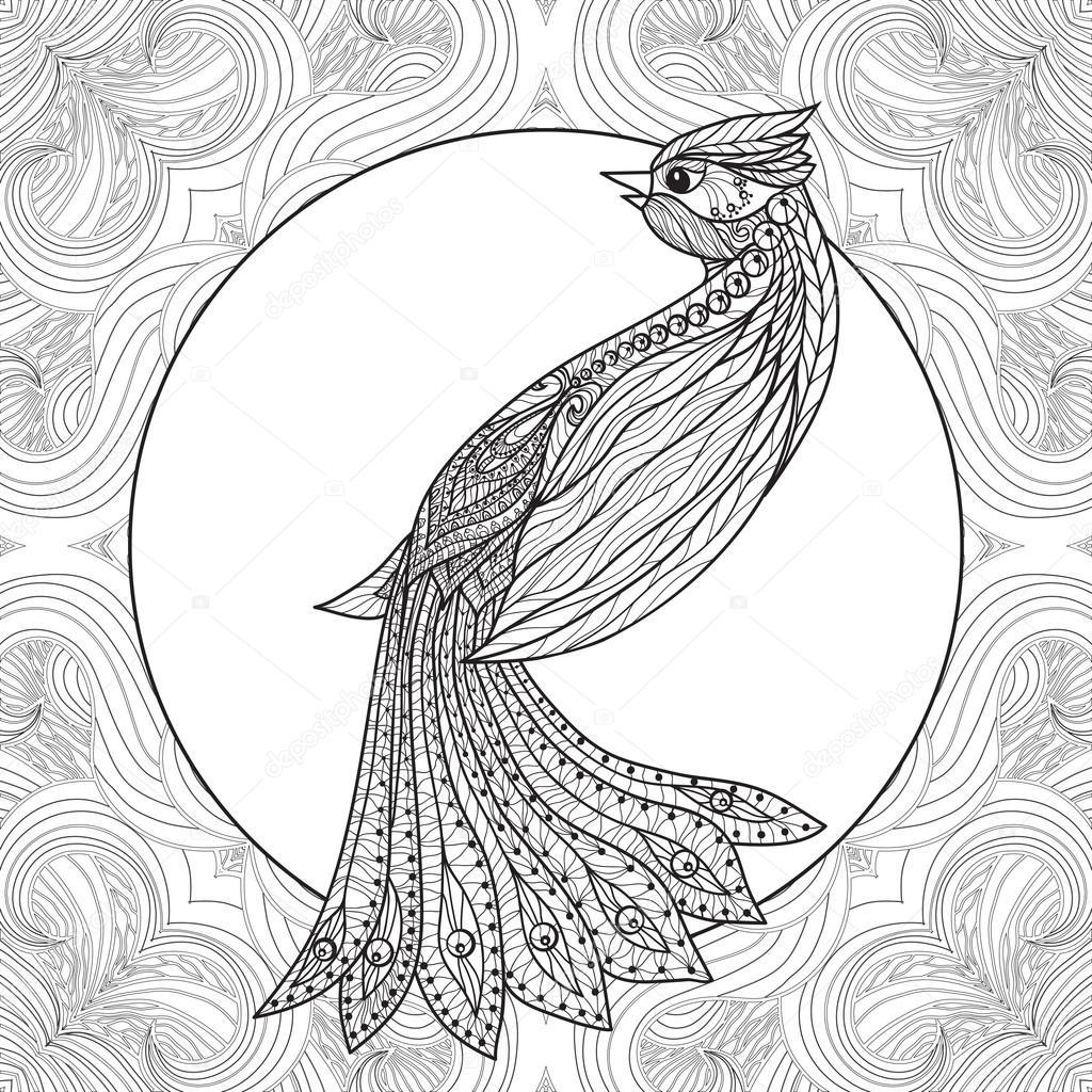 Boyama Kuş Desen Stok Vektör Elenabesedina 85627210