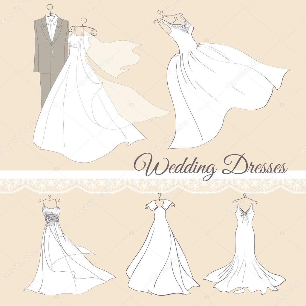 wedding dresses set.