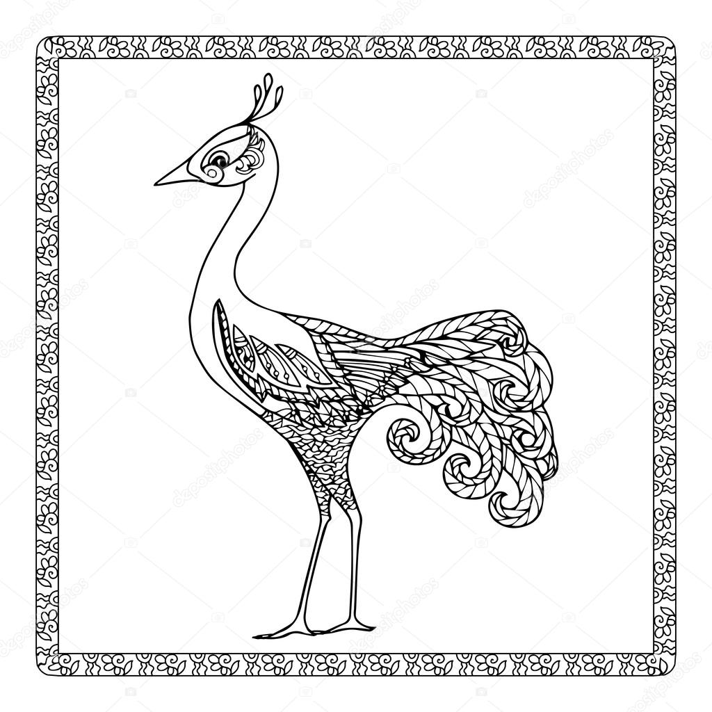 Boyama Kuş Desen Stok Vektör Elenabesedina 85642472