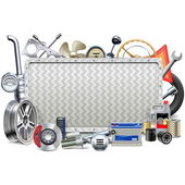 Fotografie Vector Metal Board with Car Parts