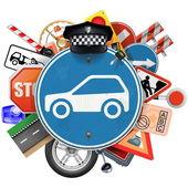 Fotografie Vektorové Blue dopravní značka s autodíly