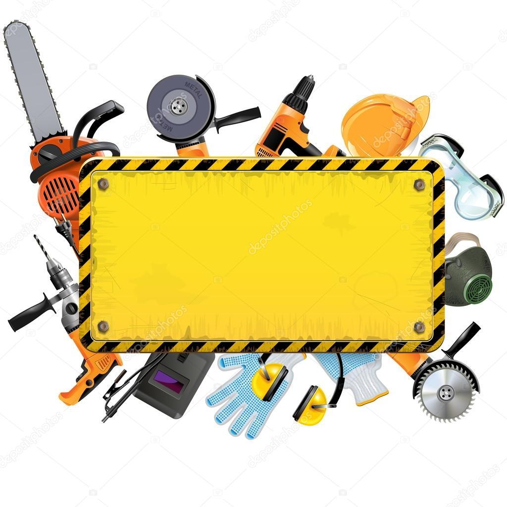 Vector marco amarillo viejo con herramientas — Vector de stock ...