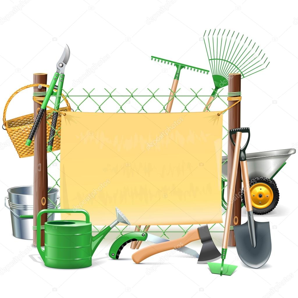 Vector marco de malla con herramientas de jardín — Archivo Imágenes ...