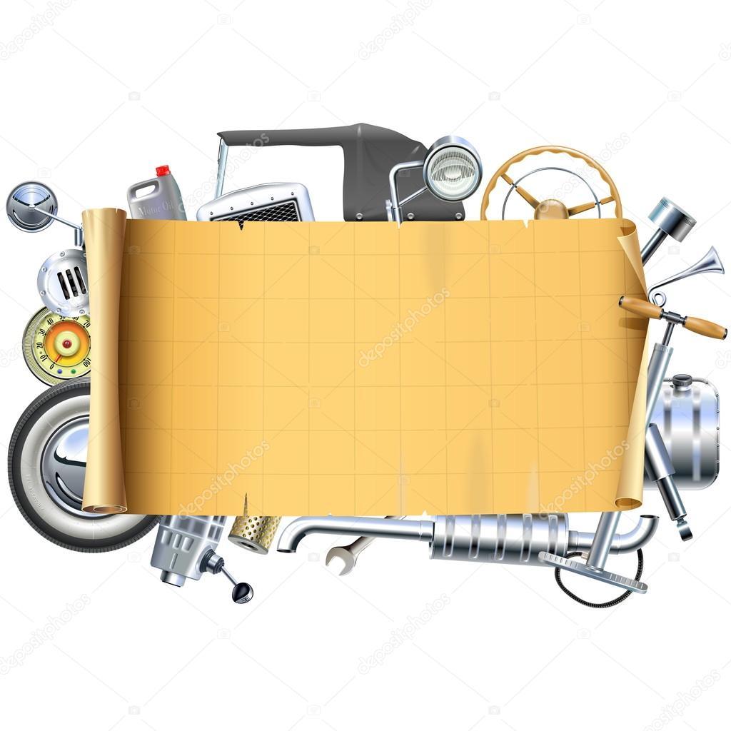 Vector marco de piezas de coche Retro — Archivo Imágenes Vectoriales ...