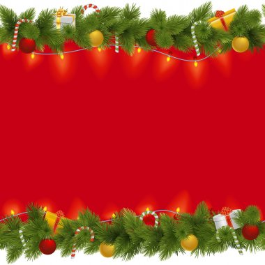 Vector Christmas Background with Garland