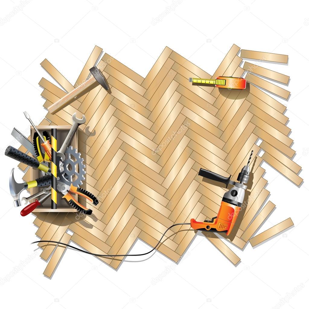 Vivienda reparación marco con caja de herramientas — Archivo ...