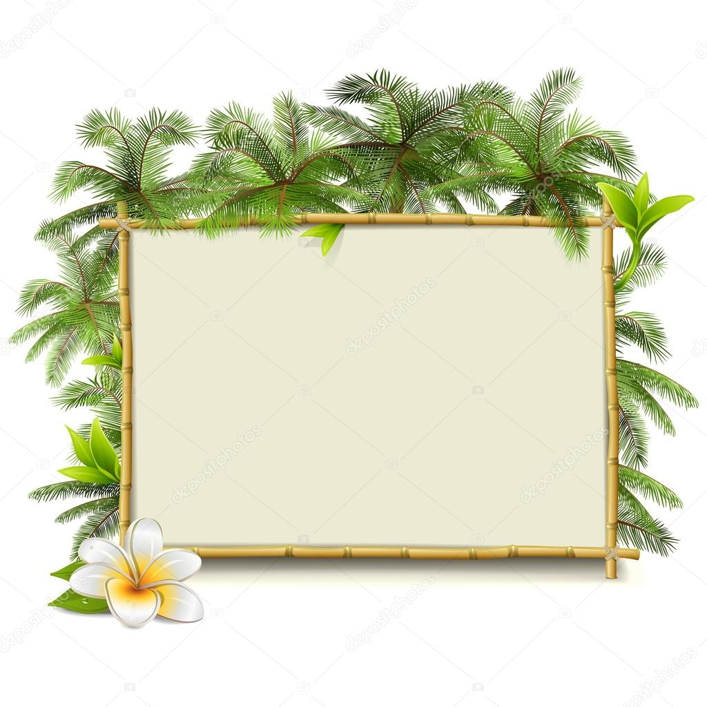 Vector marco de bamb con la palma archivo im genes - Marcos para plantas ...